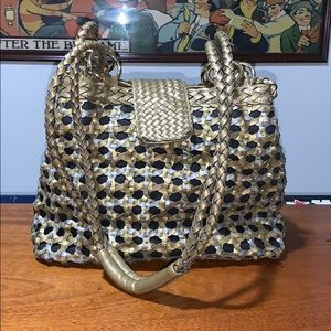 Y & S woven wicker basket purse. Gold and silver